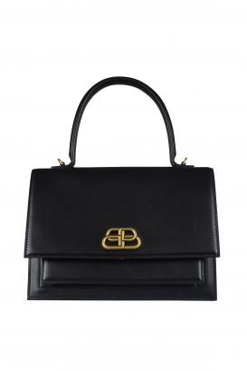 Sharp M Balenciaga handbag in black leather.