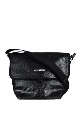 Balenciaga Explorer bag in black crackled-effect leather.