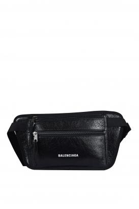 Balenciaga Explorer satchel in black crackled-effect leather.