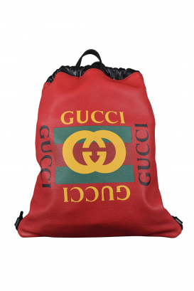 Gucci red leather backpack with drawstrings.