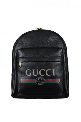Gucci backpack in black grained leather.