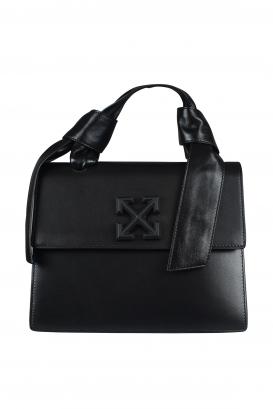 Off-White handbag in black leather.