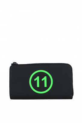 Maison Margiela black wallet with fluorescent green print.