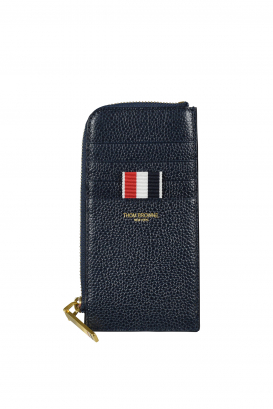 Thom Browne navy blue half-zip card holder in grained leather.