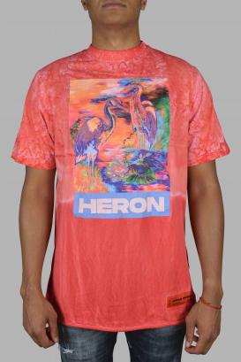 Heron Preston tie and dye fuchsia t-shirt.