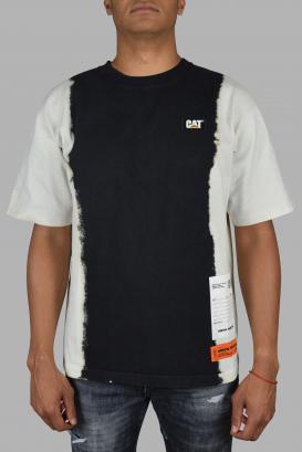 Heron Preston x CAT t-shirt in black and white gradient cotton.