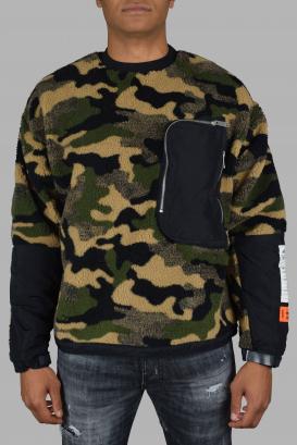 Heron Preston sweater in a khaki camouflage pattern.
