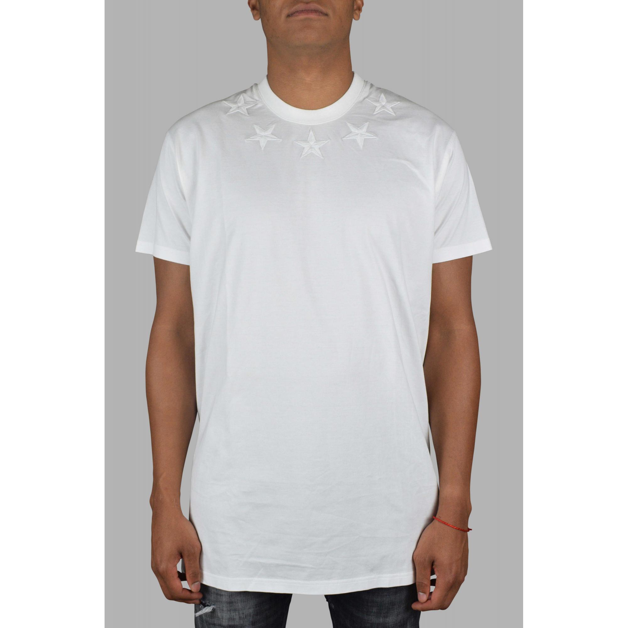Luxus T Shirt für Herren   Givenchy weißes T Shirt mit gestickten Sternen