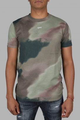 Off-White green and brown camouflage T-Shirt.