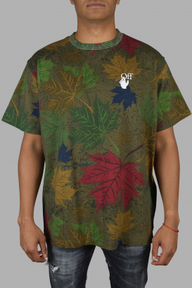 Oversize Off-White brown T-Shirt with leaf patterns.
