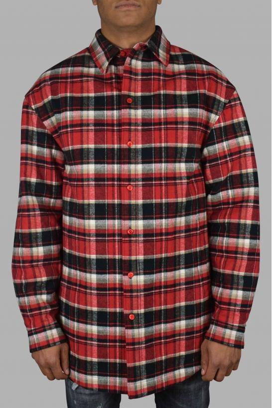 Red and black Balenciaga check shirt.