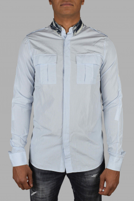 Balmain blue checkered shirt with dark blue and white denim collar.