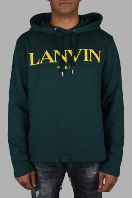 Lanvin green hooded sweatshirt with drawstrings.