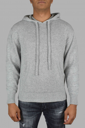 Off-White gray cashmere hooded sweater.