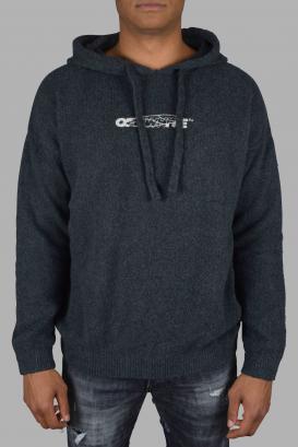 Off-White gray hooded sweatshirt.