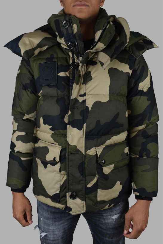 Moncler camouflage print quilted jacket.