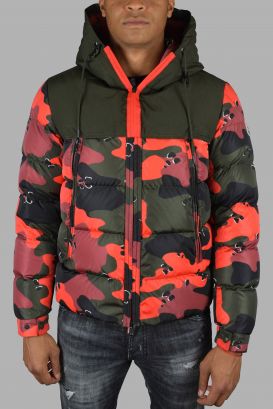 Moncler quilted down jacket with red and green camouflage print.