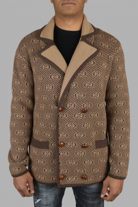 Beige and brown Gucci cardigan.
