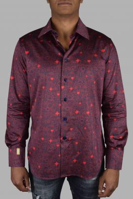 Slim LS Milano Casino Billionaire shirt in burgundy and dark blue cotton.