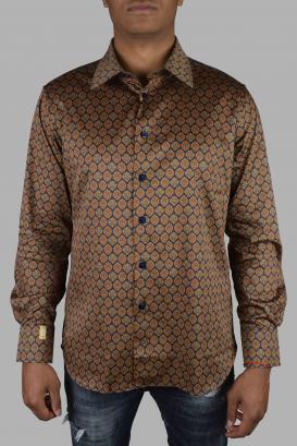 Billionaire shirt in beige and dark blue cotton.