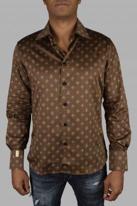 Slim LS Milano Casino Billionaire brown cotton shirt.