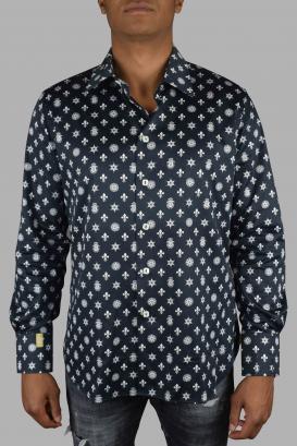 Slim LS Milano Casino Billionaire black cotton shirt.