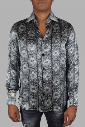 Slim black and white Billionaire shirt in pure silk.