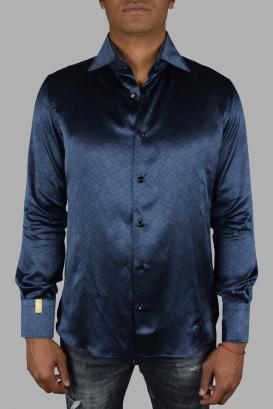 Slim navy shirt Billionaire in pure silk.