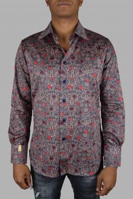 Slim LS Milano Casino Billionaire salmon cotton shirt.