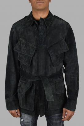 Gucci coat in khaki suede.