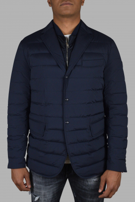 Moncler quilted navy blue coat.