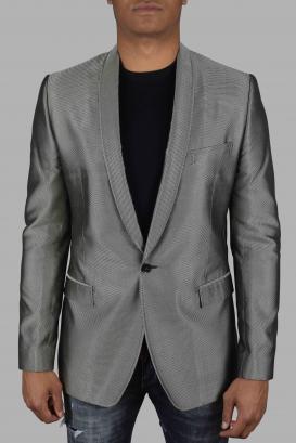 Gray silk Dolce & Gabbana suit jacket.