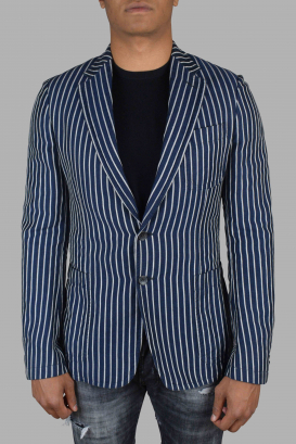 Gucci blue jacket with white stripes.