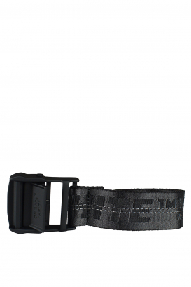 Black Off-White belt with logo.