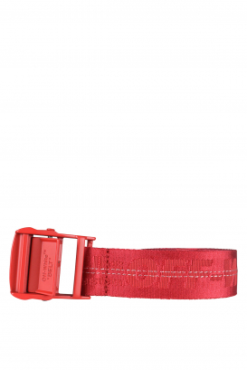 Red Off-White belt with logo.