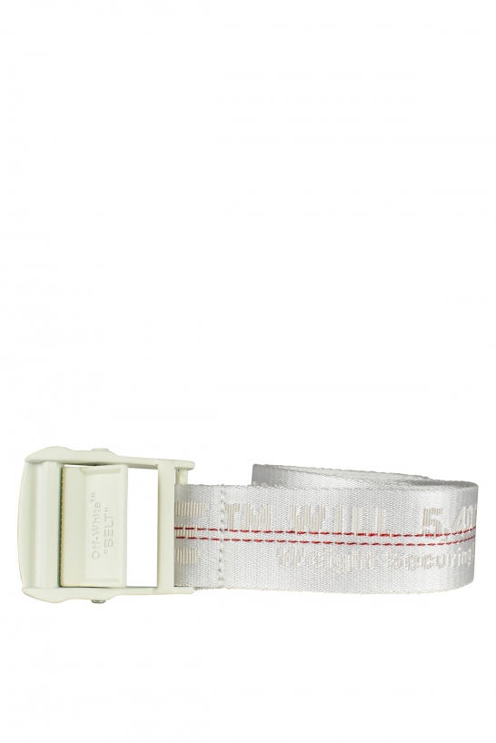 White Off-White belt with logo and red stitching.