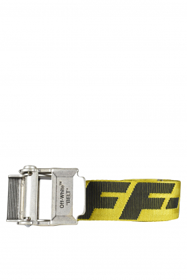 Off-White yellow belt with black logo.