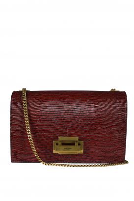 Burgundy snakeskin-effect leather shoulder bag.