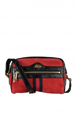 Gucci Ophidia shoulder bag in red suede black patent leather.