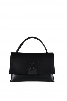 Off-White shoulder bag in black leather.