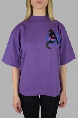 Palm Angels oversized purple t-shirt.