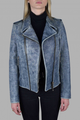 Philipp Plein perfecto jacket in aged blue leather.