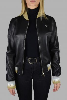 Philipp Plein bomber jacket in black leather with zip closure.