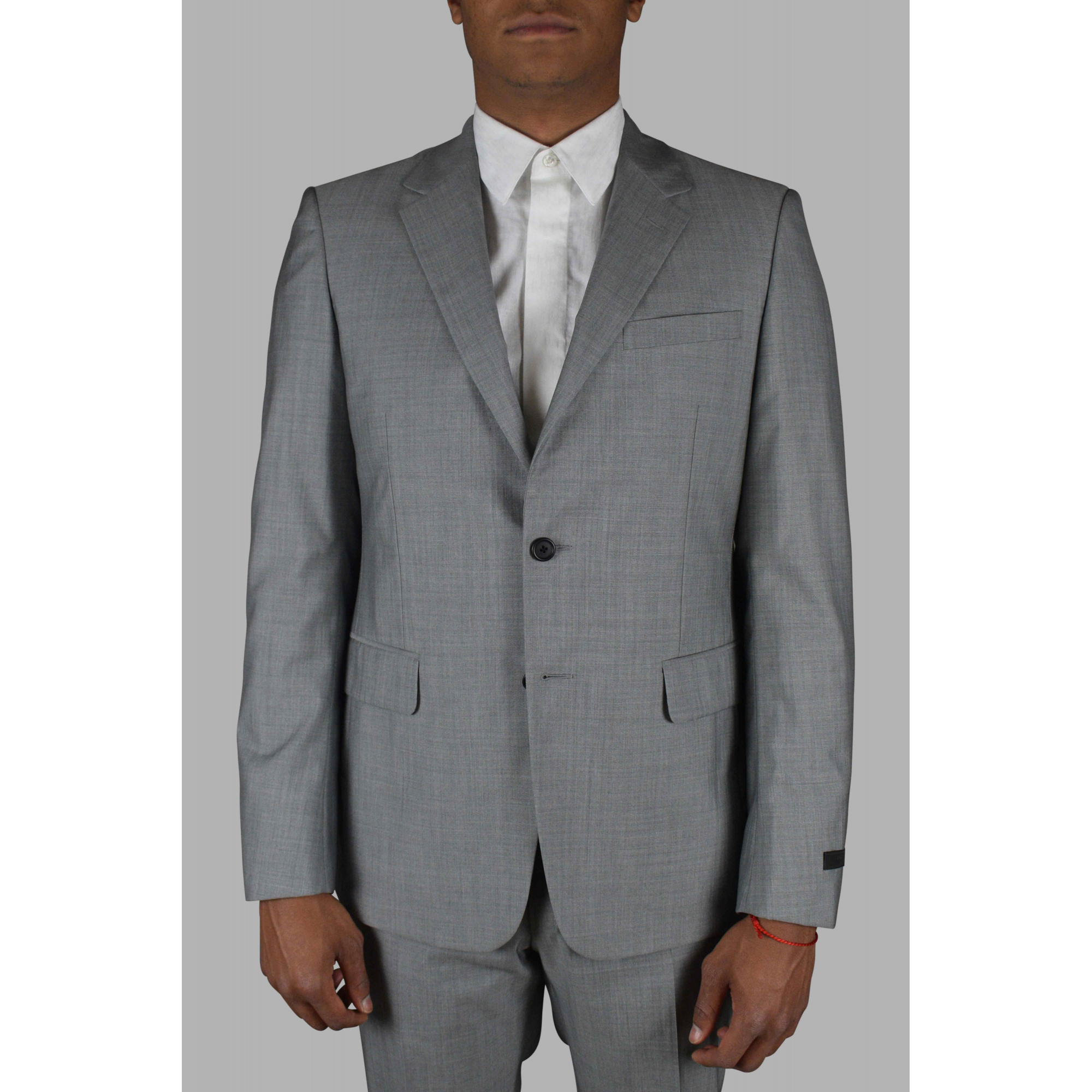 Prada two-piece suit in gray wool and silk.