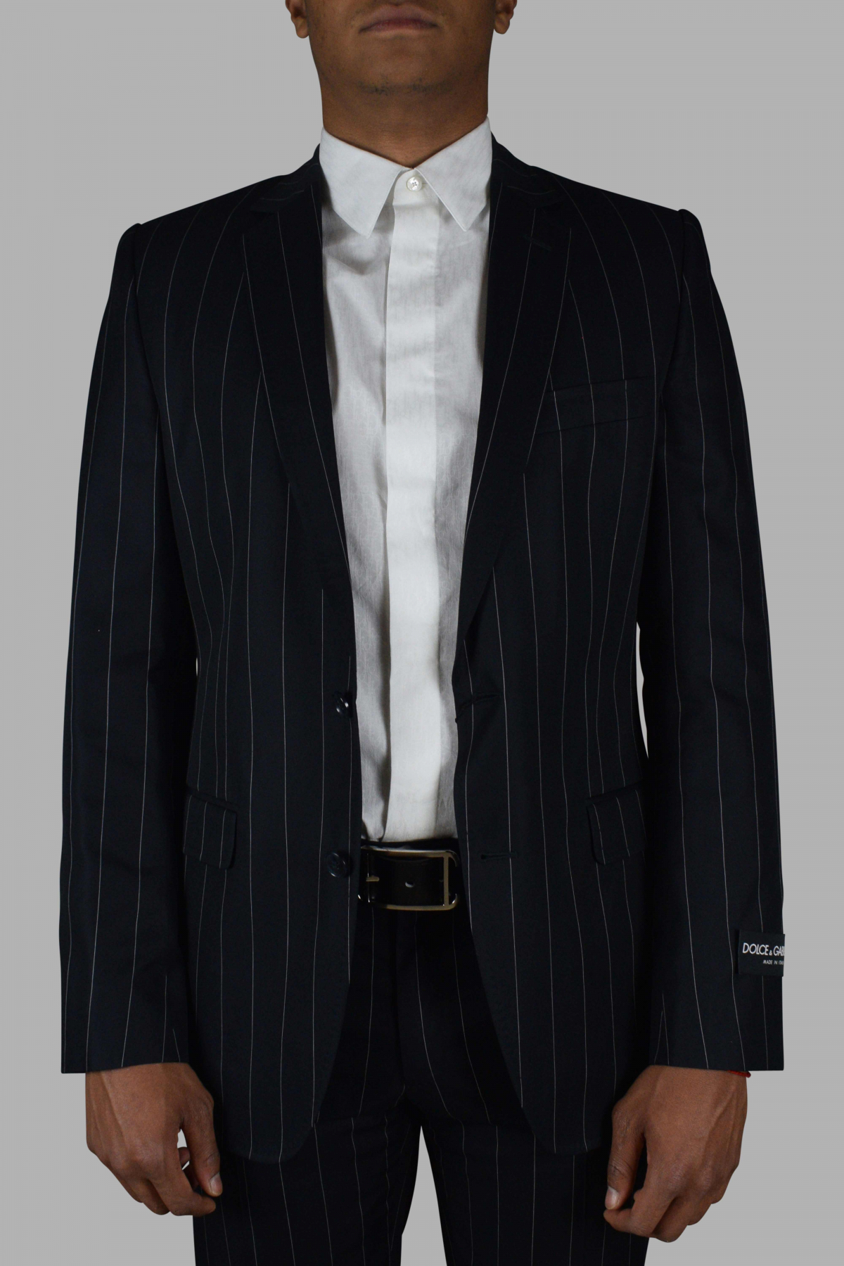 Two-piece suit from Dolce & Gabbana navy blue with stripes.
