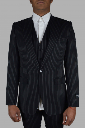 Three-piece suit from Dolce & Gabbana in black with white stripes.