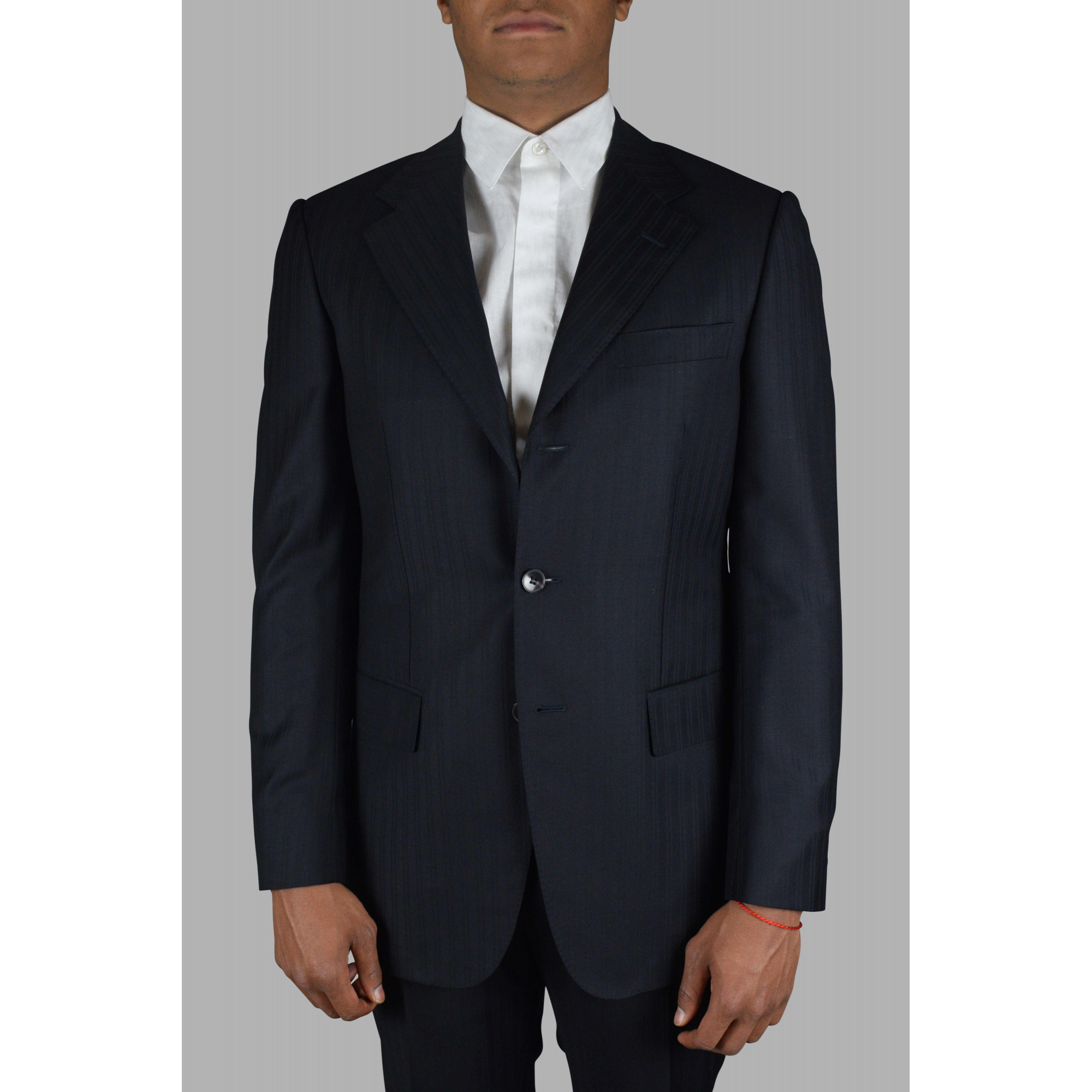 Gucci two-piece navy blue suit with tone-on-tone stripe duo patterns.
