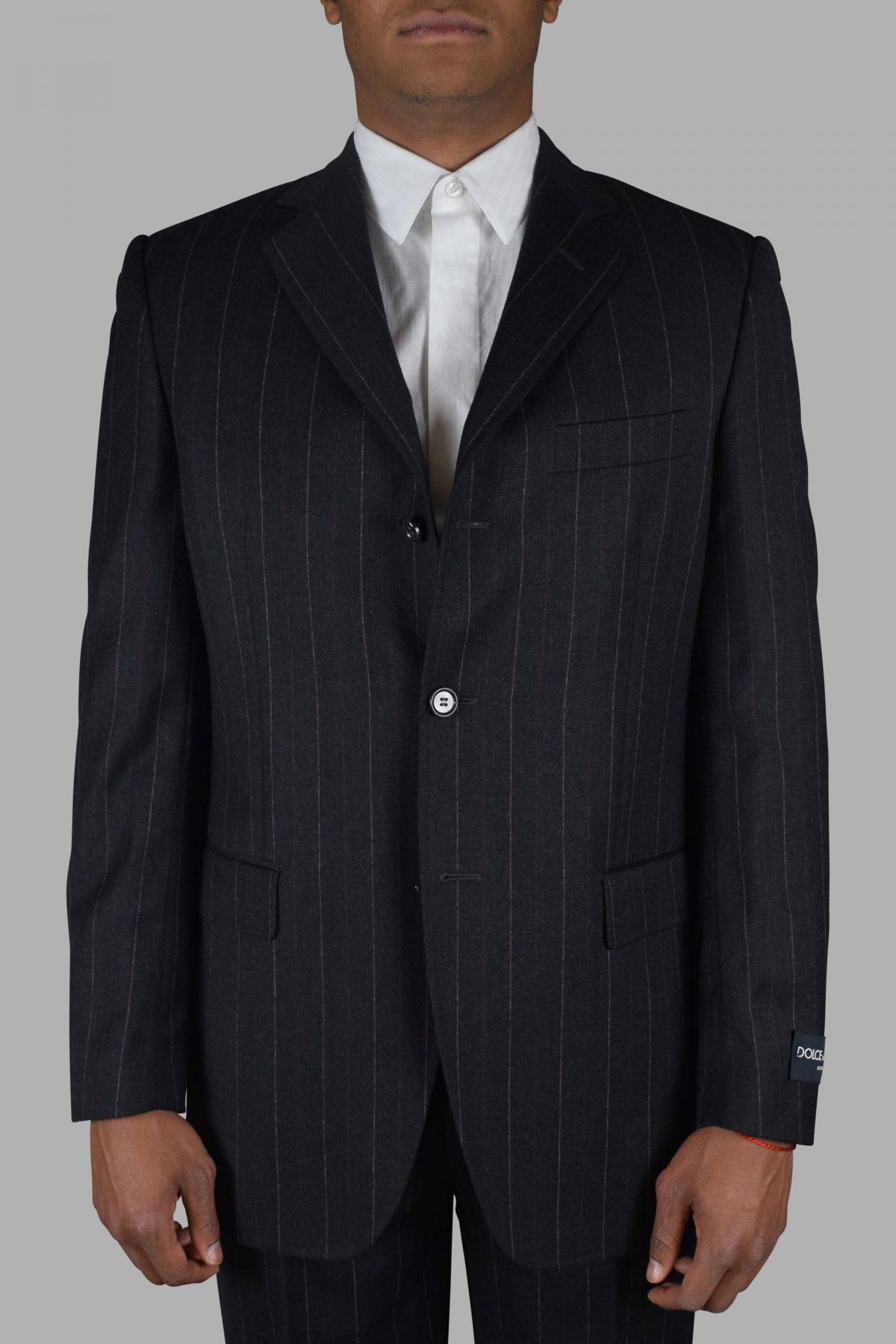 Dolce & Gabbana dark gray two-piece suit with burgundy stripe patterns.