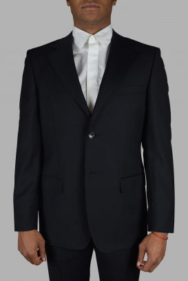 Gucci two-piece navy blue suit with tone-on-tone stripe patterns.