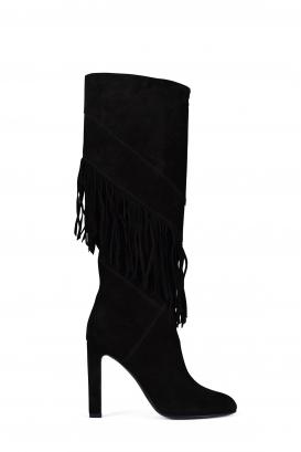 Grace Saint Laurent boots in black suede.